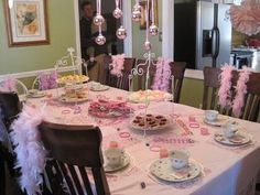"Tea Party with grandma - love the feathers and the ""chandelier"""