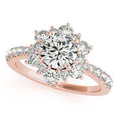 Diamond Halo Engagement Ring - Snowflake