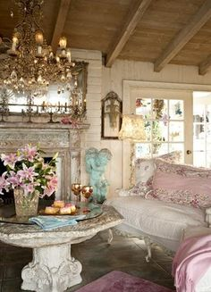 www.FabGabBlog.com I want this for my writing hideaway, lovely..might would add a big shabby chic couch with pillows...=D