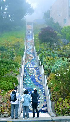 """Ave Tiled Steps Project"""" by alexandraliew// A lot of dedication went into this project, GREAT JOB! Mosaic Stairs, Tiled Staircase, Mosaic Garden, Mosaic Art, Garden Art, Garden Ideas, Tile Steps, Stairway To Heaven, Mosaic Designs"""