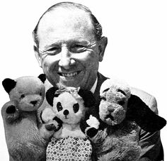 Harry Corbett with the original Sooty, Sweep, and Soo
