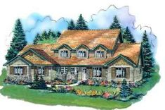 Country Style House Plans - 3377 Square Foot Home , 2 Story, 5 Bedroom and 3 Bath, 3 Garage Stalls by Monster House Plans - Plan Country Style House Plans, Country Style Homes, Build My Own House, Building A House, Elevation Plan, Front Elevation, Garage House Plans, Monster House Plans, My Dream Home