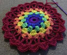 #crochet #mandala #crochetmandala #rainbow by little_red_hearts