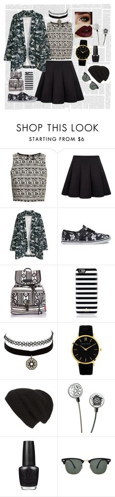 """Patterns"" by laura-wild-1 on Polyvore featuring H&M, Vans, Kate Spade, Charlotte Russe, Larsson & Jennings, Phase 3, OPI and Ray-Ban"