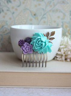 Blue, Lavender, Purple, Amethyst, Egg Plant Purple Flowers Brass Hair Comb. Bridesmaid Gifts. Purple Blue Wedding. Bridal Wedding