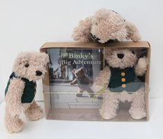 The Little Binky Bears try out the new gift box for size.  July 2013.