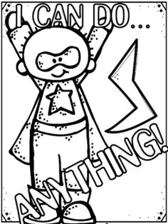 SUPERHERO....Positive Growth Mindset Coloring Pages