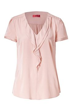 HUGO  Pastel Rose Corica Draped Silk Top