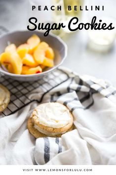 The classic Peach Bellini cocktail is now a sweet little dessert!    These sugar cookies are soft, chewy and covered in a peach frosting that is good enough to devour    all on its own! #cookie #peach #sugarcookie #sweets #prosecco #boozydessert via @Lemonsforlulu