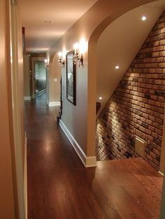 Basement entrance - love the brick wall