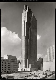 New York, September 1, 1933 Rockefeller Center, New York City. RCA Building, general view from the old Union Club. #NY #city #gray