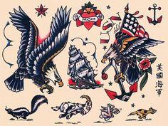 Traditional Flash, Traditional Tattoo Flash, American Traditional, Traditional Sailor Tattoos, Sailor Jerry Tattoo Flash, Full Body Tattoo, Vintage Flash, American Tattoos, Tattoo Flash Art