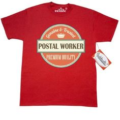 Inktastic Postal Worker Funny Gift Idea T-Shirt Retired Occupations Job Vintage Logo Clothing Classic Career Mens Adult Apparel Tees T-shirts Hws, Size: XL, Red