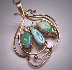 Antique Australian Black Opal Diamond Pendant Necklace 14K Gold Art Nouveau Deco.  Antique vintage, estate jewelry, retro art deco, victorian edwardian, wedding bridal, fine jewelry, rare opals, genuine opals, gemstone necklace, pin brooch, gift idea.  Purchase Now at Aawsomblei Antique Jewelry.