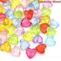 Acrylic Spacer Beads Heart Mixed 12x12mm,Hole:Approx 1.3mm,100PCs (B28226)8seasons