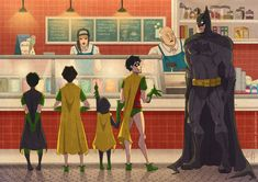 Left to right: Tim Drake, Jason Todd, Damian Wayne, Dick Grayson and, of course, Bruce Wayne. Adorable ❤️❤️