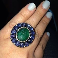 Amazing emerald center, sapphire & diamond ring by SUTRA!