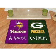 NFL - Minnesota Vikings - Green Bay Packers All-Star House Divided Rug