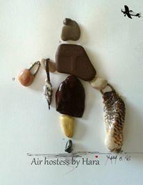 Pebble art, Air hostess by Hara