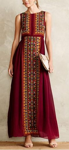 """LOVE this Dress!! -- """"Bajwa Maxi Dress"""" -- TO-DO: Find out Where I can Purchase Embroidered Fabric Panels?!! = To Make this Dress for Myself & Lily..."""
