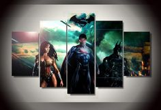 5-Panel-Framed-Printed-superman-batman-wonder-woman-Painting-children-s-room-decor-print-picture-canvas.jpg (880×604)