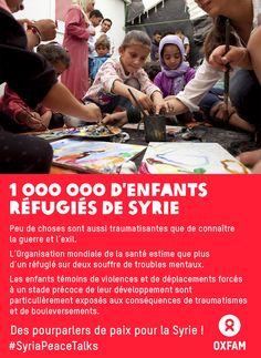 Un million d'enfants de Syrie sont réfugiés loin de chez eux. Peu de choses sont aussi traumatisantes que la guerre et l'exil. Les enfants témoins de violences et de déplacements forcés à un stade précoce de leur développement sont particulièrement exposés aux conséquences de traumatismes.  Exigeons de pourparlers de paix pour la Syrie immédiatement ! #SyriaPeaceTalks : http://www.change.org/fr/petitions/obama-et-poutine-n-abandonnez-pas-la-syrie