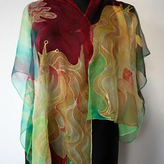 My princess scarf. Chiffon silk scarf. Hand painted chiffon scarf. Gift for a girl friend or wife. Blue, red, yellow, green scarf.