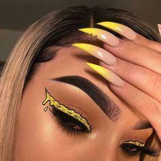 Cheesy Tear Make-up Lidschatten-Look Liebst du das? Makeup Eye Looks, Eye Makeup Art, Colorful Eye Makeup, Crazy Makeup, Cute Makeup, Pretty Makeup, Eyeshadow Makeup, Yellow Eye Makeup, Eyeshadow Palette