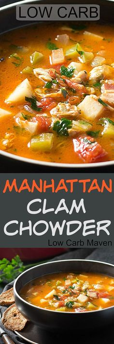 This delicious recipe for low carb Manhattan Clam Chowder super flavorful! The perfect warm comfort food on a cool Fall day! Clam Chowder Recipes, Seafood Recipes, Soup Recipes, Fish Chowder, Fish Soup, Dinner Recipes, Paleo Soup, Healthy Soup, Healthy Eats