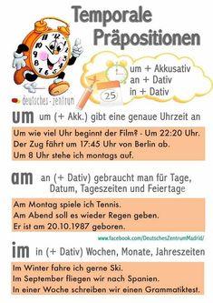 Temporale Präpositionen: um, an, in - Deutsch Study German, Learn German, Learn English, Foreign Language Teaching, German Language Learning, German Grammar, German Words, Dativ Deutsch, Deutsch Language