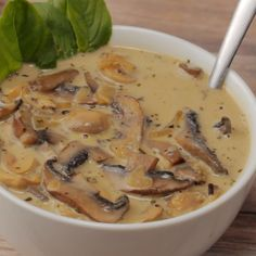 Simple and ultra creamy vegan cream of mushroom soup Rich flavorful and deliciously satisfying this soup makes an ideal appetizer GlutenFree Vegan Soups, Vegan Dishes, Vegetarian Recipes, Healthy Recipes, Healthy Soup, Vegan Recipes Videos, Healthy Chicken, Tasty Videos, Food Videos