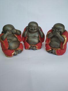 See No Evil, Buddha, Mini, Rouge, Stuff Stuff, Plaster, Pintura, Art, Buddhism