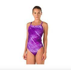 Speedo Womens Vee 2 Color Block Printed Sport Monokini Swimsuit Size 30~NWT