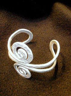 Hammered Wire Swirl Cuff Bracelet Choose by RefreshingDesigns