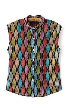 Colorful Rhombic Grids Print Fabric  Stand Collar Chiffon Sleeveless Blouse. Goes wonderfully with a high waist black skirt and some stilettos (any color) :)