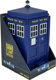 Doctor Who Tardis Trash Can I HAVE THIS!!!  It is at my desk at work.  And sometimes when I am feeling down I open the lid and close it just to hear the sound of the TARDIS and everything is put right in the world.