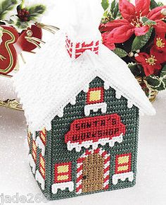 Plastic Canvas Free Santa Pattern | SANTAS-WORKSHOP-TISSUE-COVER-PLASTIC-CANVAS-PATTERN