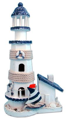 Ocean Blue Lighthouse Wooden Handmade Nautical Decor | eBay