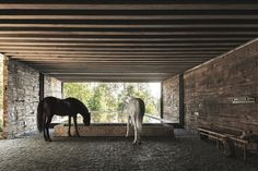 Designed by CC Arquitectos, the residence named El Mirador House is located on the El Eterno estate in Valle de Bravo Horse Shelter, Horse Stables, Horse Barns, Horses, Equestrian Stables, Dream Stables, Steel Frame House, Railway Sleepers, Tallit