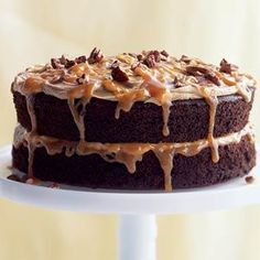 Double Caramel Turtle Cake -- One of our most popular cakes, this light chocolate cake has two layers of tender chocolate cake with a low-fat caramel frosting and an easy topping made with store-bought caramel-apple dip and chopped pecans. Chocolate Turtle Cakes, Best Chocolate Cake, Chocolate Recipes, Delicious Chocolate, Chocolate Chips, Just Desserts, Delicious Desserts, Yummy Food, Cake Recipes