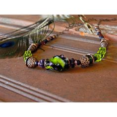 Green Artisan Lampwork Necklace, Black Green Glass bead necklace,... (120 ILS) ❤ liked on Polyvore featuring jewelry, necklaces, boho jewellery, glass bead necklaces, bohemian jewellery, bohemian jewelry and boho chic jewelry