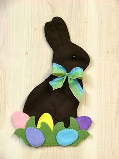 Felt Chocolate Bunny w/Eggs Wall Hanging