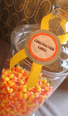 """Too cute - candy corn as """"construction cones"""" at truck party ♥ - Konstruktion Third Birthday, 3rd Birthday Parties, Birthday Fun, Birthday Ideas, Birthday Banners, Theme Parties, 1st Birthdays, Birthday Invitations, Construction Birthday Parties"""