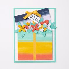 """Everything you need to make this card! Bundle: In Bloom Bundle Paper: Basic White, Coastal Cabana, Purple Posy Cardstock Ink: Night of Navy Classic Ink Pad Accessories: Metallic Pearls, 1/4"""" Bumblebee Ribbon - Contact your Stampin' Up! Demonstrator or go to our online store today!"""