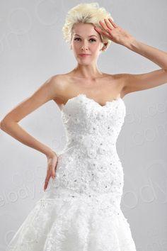 A Line Sweetheart Dropped Waist Court Train Lace Wedding Dress CWLT130B4  #cocomelody  #weddingdress