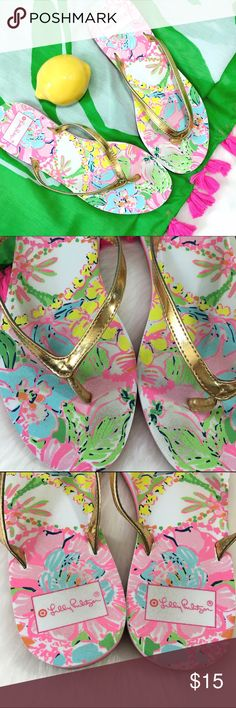 Lily Pulitzer for Target Sandals Adorable pop of color for your warm weather looks! Show some wear, but no flaws to gold on straps or major marks. Lilly Pulitzer for Target Shoes