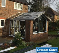Garden room dining The new garden room is taking shape and you can see what a feature the huge gable end window is going to be. Conservatory Dining Room, Modern Conservatory, Conservatory Roof, House Extension Plans, Rear Extension, Extension Ideas, Gable Window, Roof Window, Garden Room Extensions