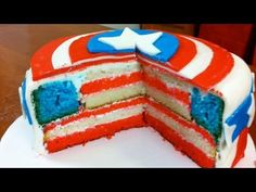 HOW TO MAKE A CAPTAIN AMERICA CAKE - NERDY NUMMIES Cupcakes, Cupcake Cakes, Cupcake Ideas, Food Cakes, Cake Pops, American Flag Cake, Captain America Party, Avenger Cake, Avengers Birthday