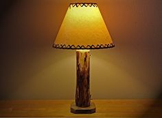 """The Sawtooth Mountain Log Table Lamp w/12"""" Parchment Shade -- Read more reviews of the product by visiting the link on the image."""