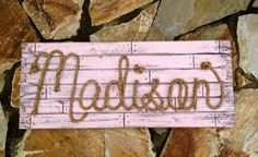 Items similar to Personalized Nursery Decor ~ Western Girl Baby Room ~ Rope Name Sign ~ Toddler Cowgirl Theme Room ~ MADISON ~Light Pink Finish- on Etsy Toddler Cowgirl, Little Cowgirl, Horse Themed Bedrooms, Bedroom Themes, Bedroom Ideas, Country Themed Bedrooms, Horse Bedrooms, Western Rooms, Western Decor